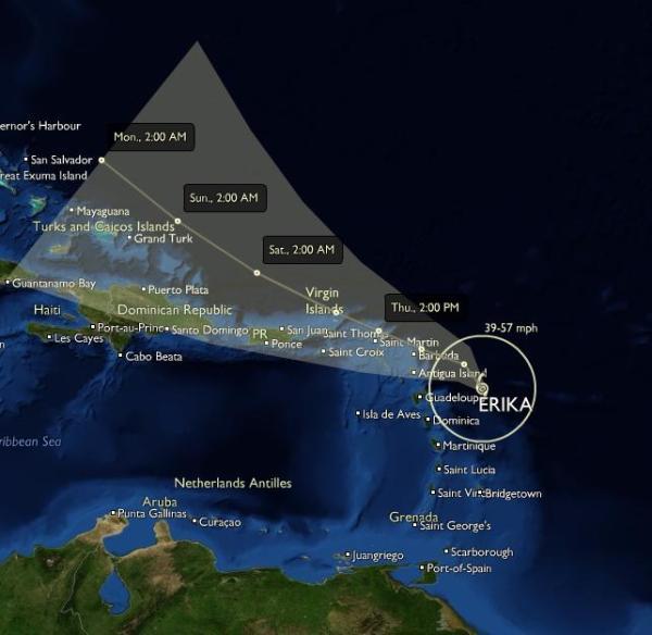 Trayectoria Huracan Erika